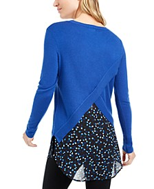 Contrast Envelope-Back Sweater, Created For Macy's