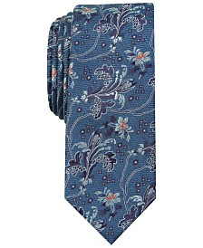 Bar III Men's Edison Skinny Floral Tie, Created For Macy's