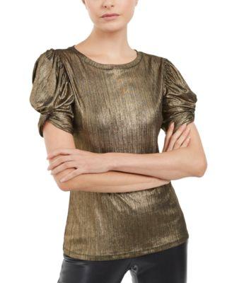 INC Metallic Puff-Sleeve Top, Created For Macy's