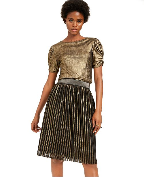 INC International Concepts I.N.C. Shiny Volume-Sleeve Top & Gold Pleated Skirt, Created For Macy's