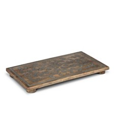 The GG Collection 18-Inch Wood and Metal Inlay Heritage Collection Rectangular Trivet