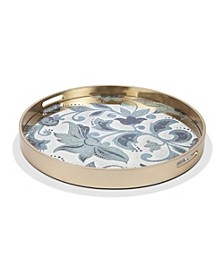22.84-Inch Etched Floral Collection Round Grand Floral Mirror Tray