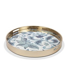 The GG Collection 22.84-Inch Etched Floral Collection Round Grand Floral Mirror Tray