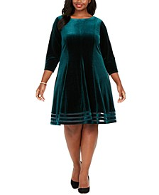 Plus Size Velvet Illusion Dress