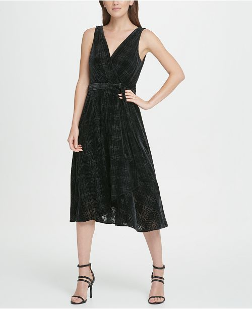 DKNY Velvet Burnout Double-V Wrap Midi Dress