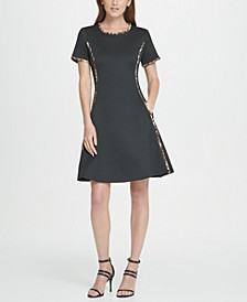 Animal Trim Scuba Fit  Flare Dress