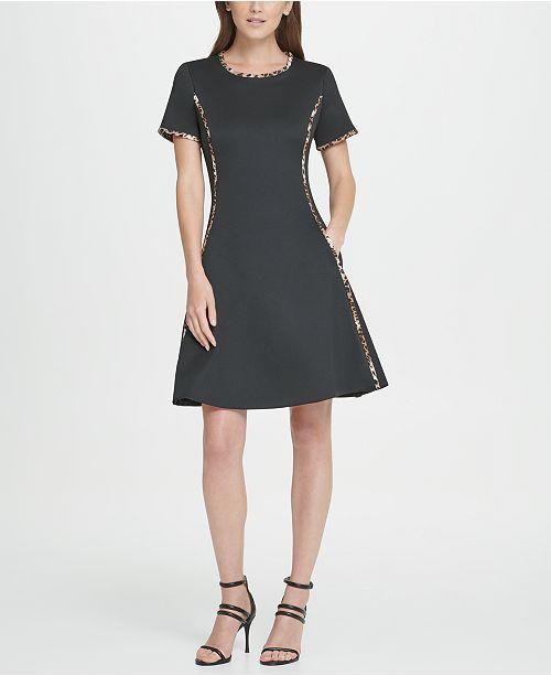DKNY Animal Trim Scuba Fit  Flare Dress