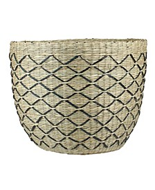 Natural and Lattice Print Woven Seagrass Basket