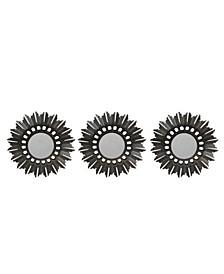Set of 3 Floral Sunburst Bronze Round Wall Mirrors