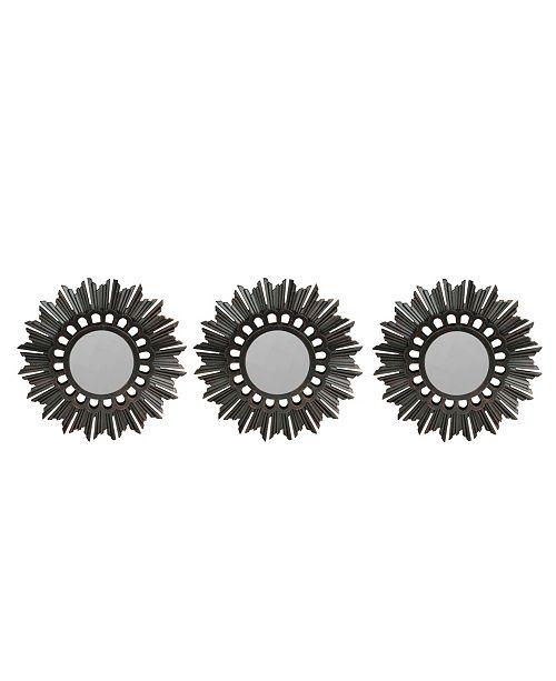 Northlight Set of 3 Floral Sunburst Bronze Round Wall Mirrors