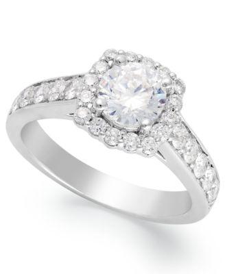 Macy S Diamond Halo Ring In 14k White Gold 1 1 2 Ct T W Rings