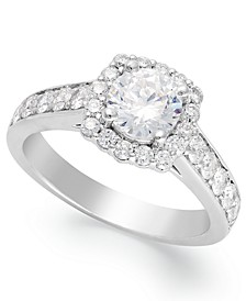 Diamond Halo Ring in 14k White Gold (1-1/2 ct. t.w.)