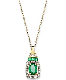 Emerald (9/10 ct. t.w.) and Diamond (1/5 ct. t.w.) Rectangle Pendant Necklace in 14k Gold (Also Available In Sapphire and Certified Ruby)