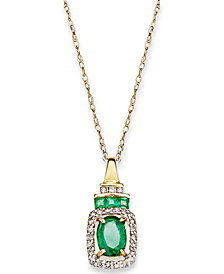 14k Gold Necklace, Emerald (9/10 ct. t.w.) and Diamond (1/5 ct. t.w.) Rectangle Pendant (Also Available In Sapphire)