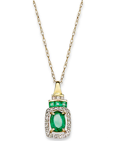 14k Gold Necklace, Emerald (9/10 ct. t.w.) and Diamond (1/5 ct. t.w.) Rectangle Pendant