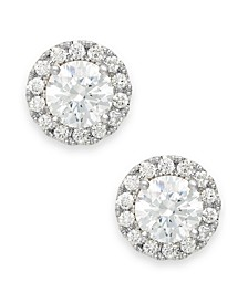 Diamond Round Halo Stud Earrings in 14k White Gold (3/4 ct. t.w.)