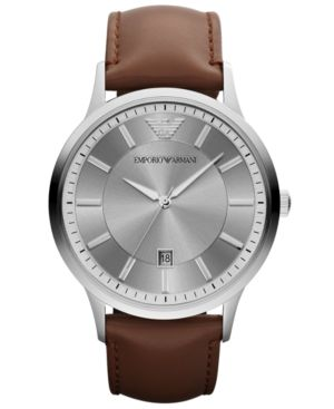 Emporio Armani Watch, Men's Brown Leather Strap 43mm AR2463 thumbnail