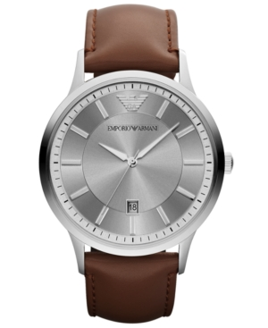 Emporio Armani Watch, Men's Brown Leather Strap 43mm AR2463