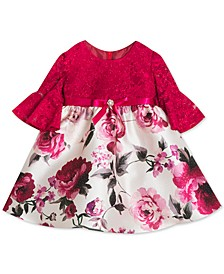 Baby Girls Glitter-Lace & Printed Mikado Dress