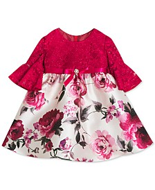 Rare Editions Baby Girls Glitter-Lace & Printed Mikado Dress