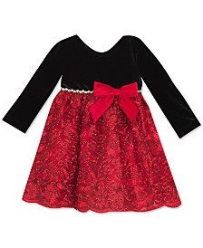Rare Editions Baby Girls Velvet-Bodice Embroidered Dress