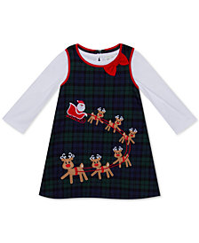 Rare Editions Baby Girls 3-Pc.Plaid Reindeer Jumper, Bodysuit & Panty Set