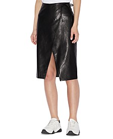 Faux-Leather Wrap Skirt