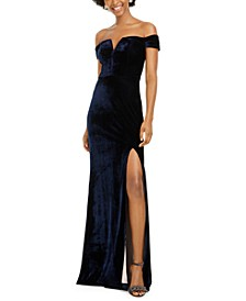 Juniors' Velvet Off-The-Shoulder Gown