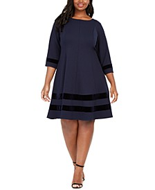 Plus Size Velvet-Trim A-Line Dress