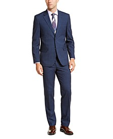 Men's Modern-Fit Bi-Stretch Blue Plaid Suit