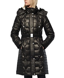 Belted Faux Fur Hooded Down Puffer Coat