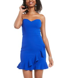 B Darlin Juniors' Strapless Flounce Bodycon Dress, Created for Macy's