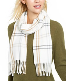 Cejon Grid Plaid Fringe Scarf