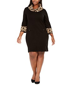 Plus Size Animal-Print-Trim Shift Dress