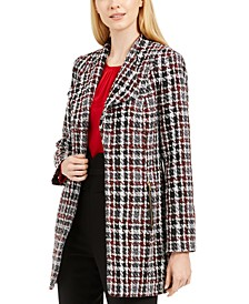Petite Tweed Plaid Topper Jacket