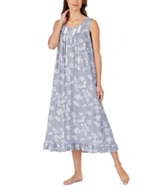 Eileen West Ballet Lace Trim Floral-Print Nightgown