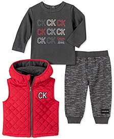 Baby Boys 3-Pc. Logo T-Shirt, Pants & Puffer Vest Set