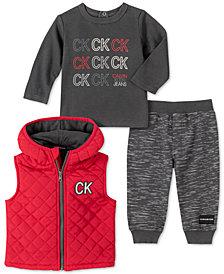 Calvin Klein Baby Boys 3-Pc. Logo T-Shirt, Pants & Puffer Vest Set
