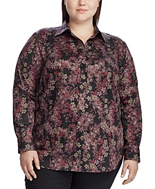 Plus Size Point-Collar Cotton Shirt