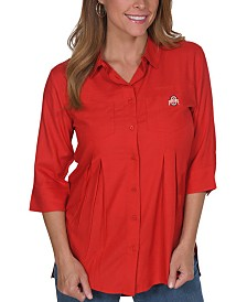 UG Apparel Women's Ohio State Buckeyes Front Pleat Button Up Shirt