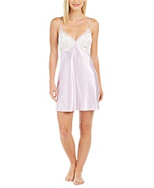 Women's Lace-Trim Satin Chemise Nightgown