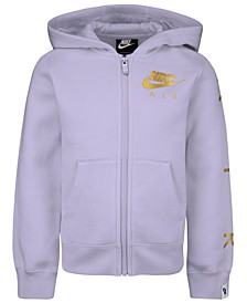 Little Girls Metallic-Logo Zip-Up Hoodie