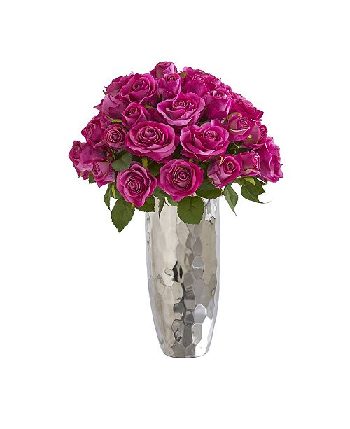 """Nearly Natural 20"""" Rose Artificial Arrangement in Silver Vase"""