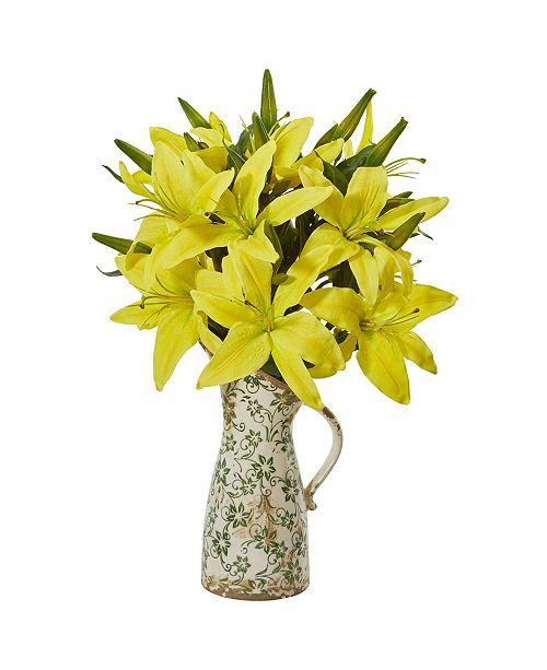 Nearly Natural Lily Artificial Arrangement in Floral Pitcher