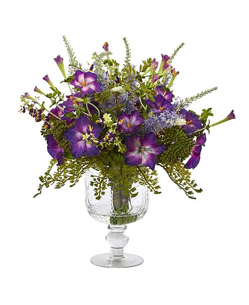 Nearly Natural Morning Glory Artificial Arrangement in Royal Glass Urn