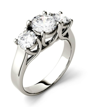 Moissanite Three Stone Ring 2 ct. t.w. Diamond Equivalent in 14k White Gold or 14k Yellow Gold