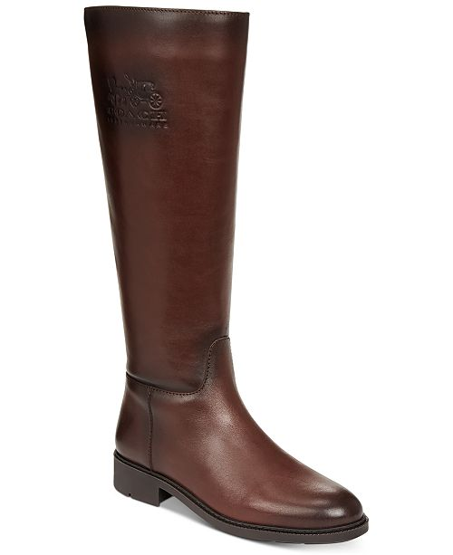 COACH Raee Riding Wide Calf Leather Boots