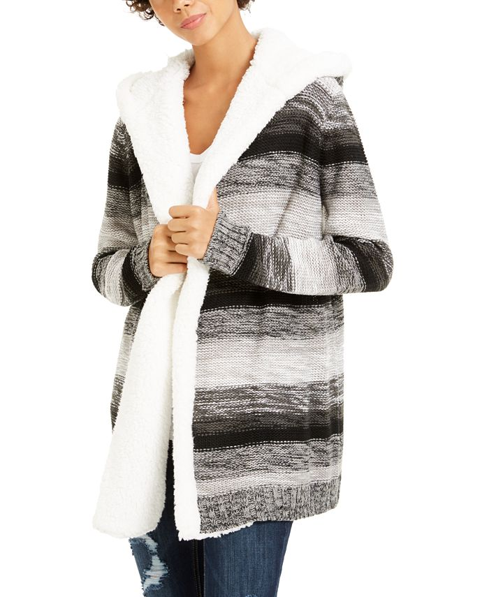 Crave Fame - Juniors' Fuzz-Lined Hooded Cardigan