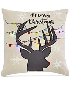 "Reindeer Garland 20"" x 20"" Light Up Decorative Pillow"