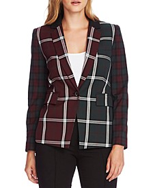 Mixed-Plaid Blazer